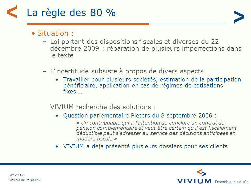 VIVIUM S.A. Membre du Groupe P&V La règle des 80 % Situation : –Loi portant des dispositions fiscales et diverses du 22 décembre 2009 : réparation de