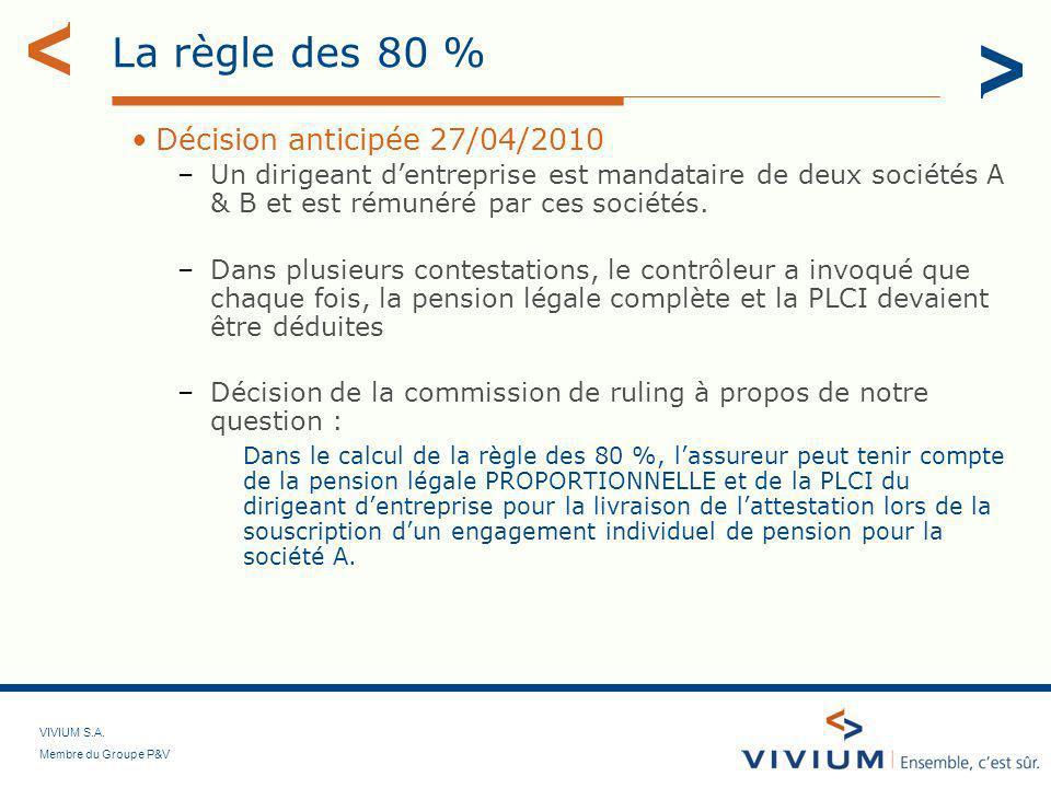 VIVIUM S.A. Membre du Groupe P&V La règle des 80 % Décision anticipée 27/04/2010 –Un dirigeant dentreprise est mandataire de deux sociétés A & B et es