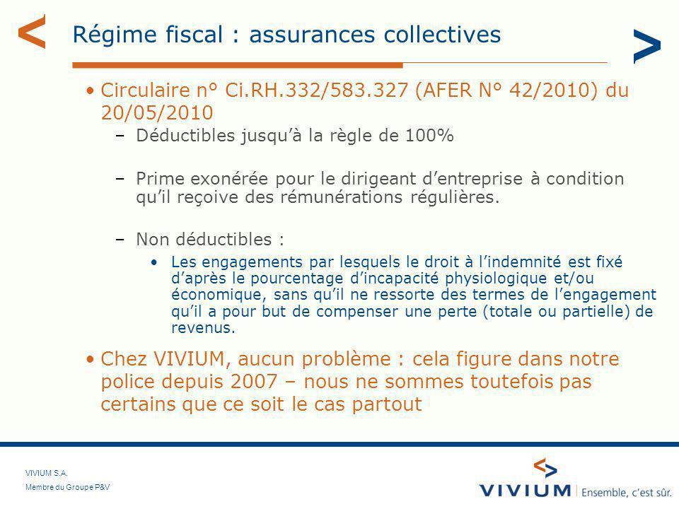 VIVIUM S.A. Membre du Groupe P&V Régime fiscal : assurances collectives Circulaire n° Ci.RH.332/583.327 (AFER N° 42/2010) du 20/05/2010 –Déductibles j