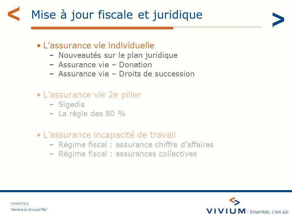 VIVIUM S.A. Membre du Groupe P&V Mise à jour fiscale et juridique Lassurance vie individuelle –Nouveautés sur le plan juridique –Assurance vie – Donat