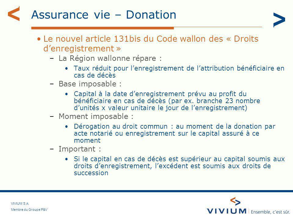 VIVIUM S.A. Membre du Groupe P&V Assurance vie – Donation Le nouvel article 131bis du Code wallon des « Droits denregistrement » –La Région wallonne r