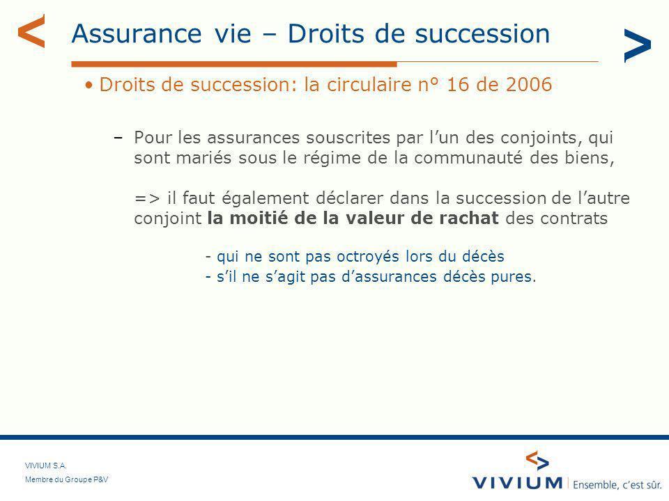 VIVIUM S.A. Membre du Groupe P&V Assurance vie – Droits de succession Droits de succession: la circulaire n° 16 de 2006 –Pour les assurances souscrite