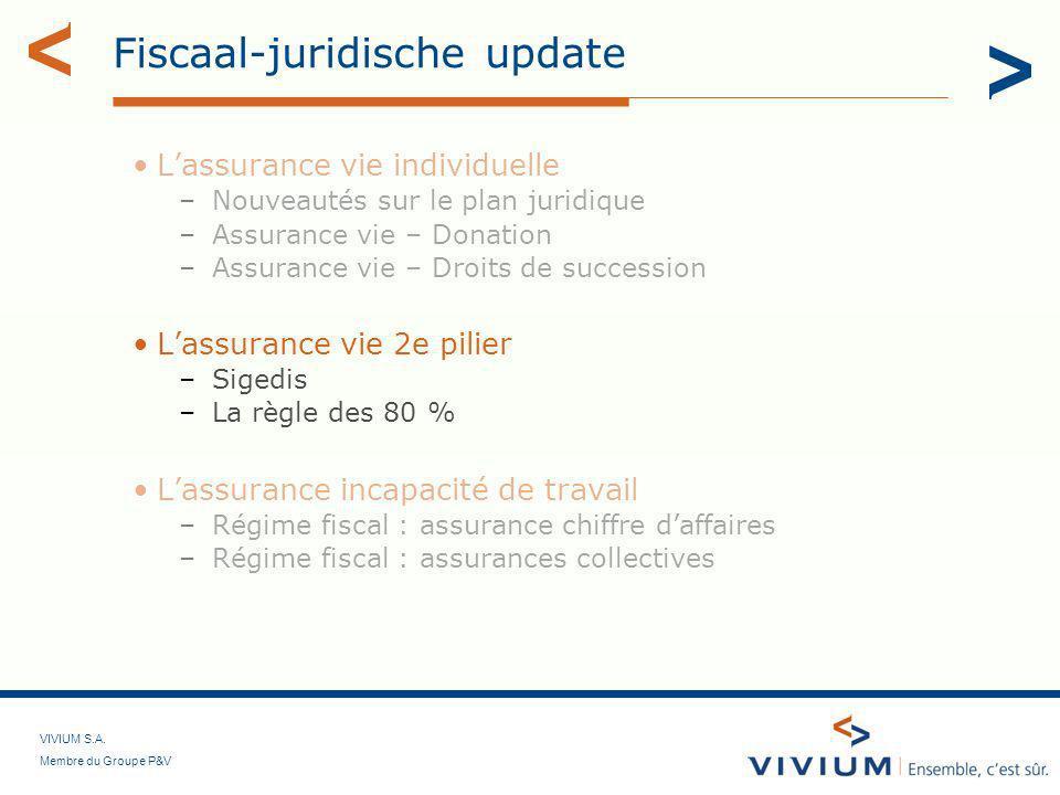 VIVIUM S.A. Membre du Groupe P&V Fiscaal-juridische update Lassurance vie individuelle –Nouveautés sur le plan juridique –Assurance vie – Donation –As