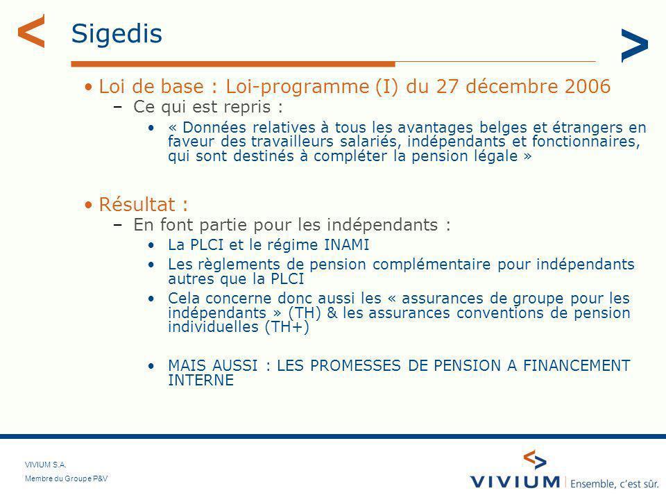 VIVIUM S.A. Membre du Groupe P&V Sigedis Loi de base : Loi-programme (I) du 27 décembre 2006 –Ce qui est repris : « Données relatives à tous les avant