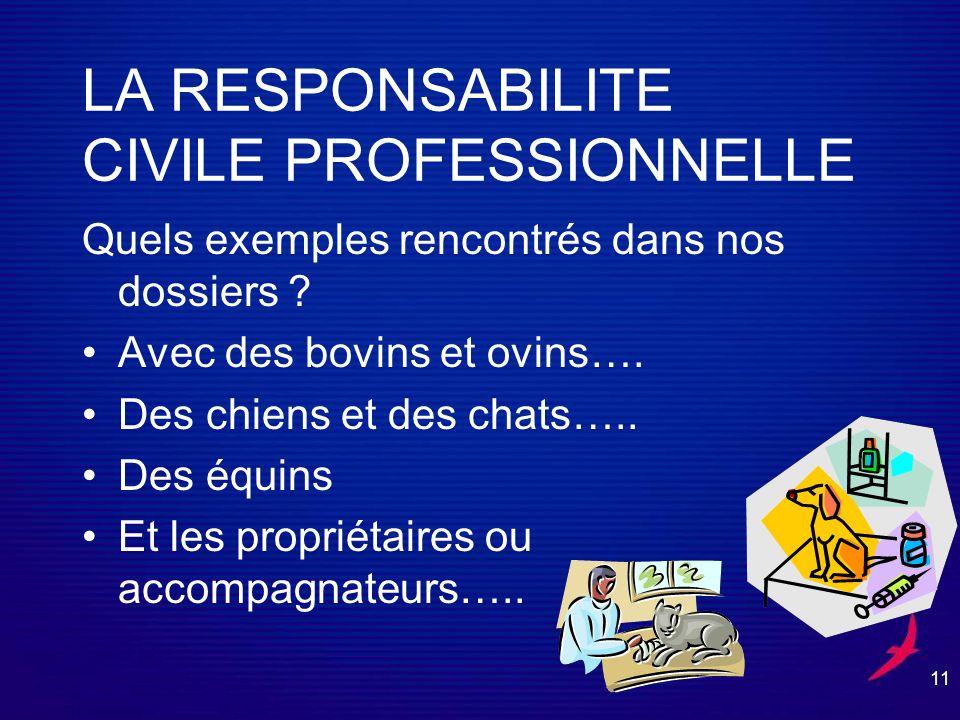11 LA RESPONSABILITE CIVILE PROFESSIONNELLE Quels exemples rencontrés dans nos dossiers .