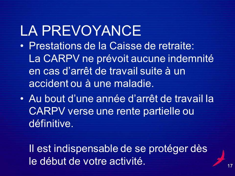 17 LA PREVOYANCE Prestations de la Caisse de retraite: La CARPV ne prévoit aucune indemnité en cas darrêt de travail suite à un accident ou à une maladie.