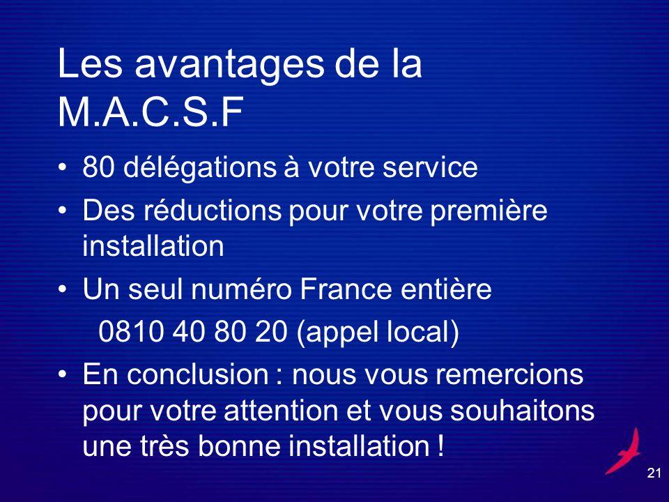 21 Les avantages de la M.A.C.S.F 80 délégations à votre service Des réductions pour votre première installation Un seul numéro France entière 0810 40 80 20 (appel local) En conclusion : nous vous remercions pour votre attention et vous souhaitons une très bonne installation !