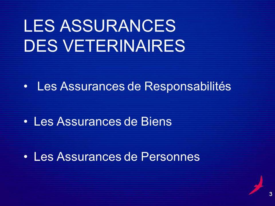 3 LES ASSURANCES DES VETERINAIRES Les Assurances de Responsabilités Les Assurances de Biens Les Assurances de Personnes