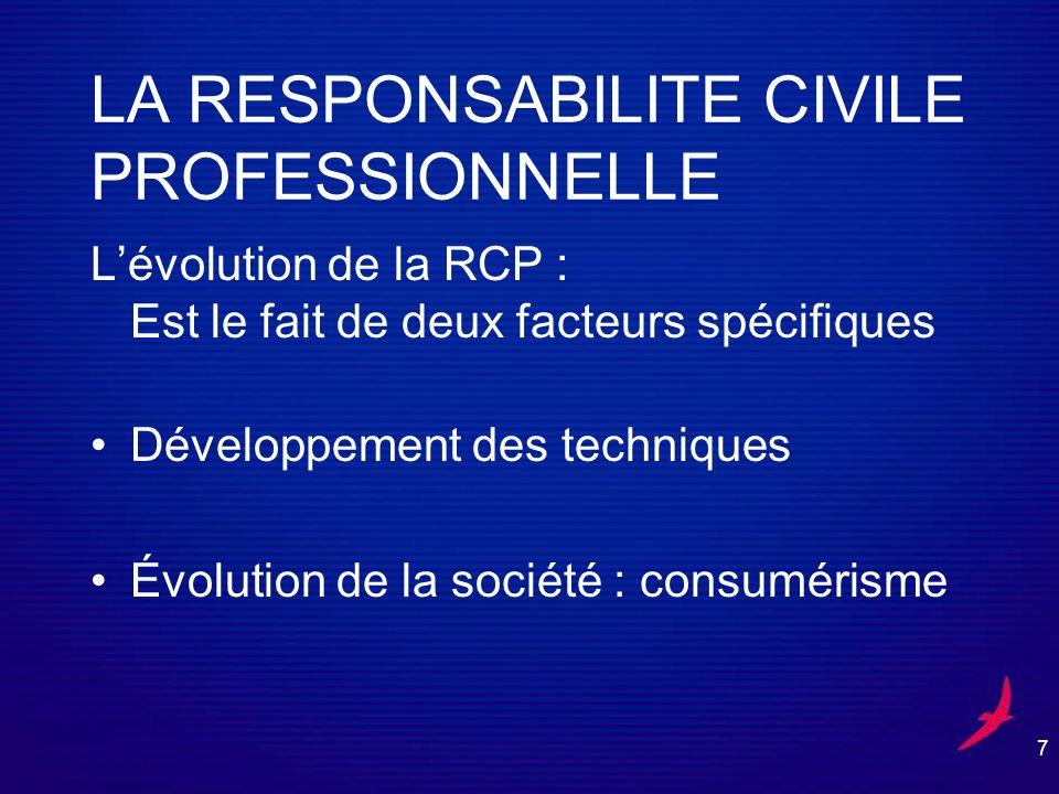 7 LA RESPONSABILITE CIVILE PROFESSIONNELLE Lévolution de la RCP : Est le fait de deux facteurs spécifiques Développement des techniques Évolution de la société : consumérisme