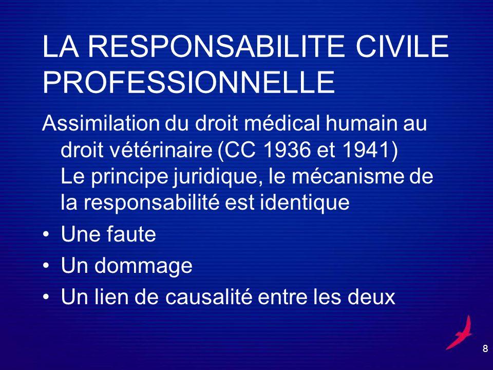 9 LA RESPONSABILITE CIVILE PROFESSIONNELLE Le contrat de soins est passé entre le vétérinaire et le propriétaire de lanimal.