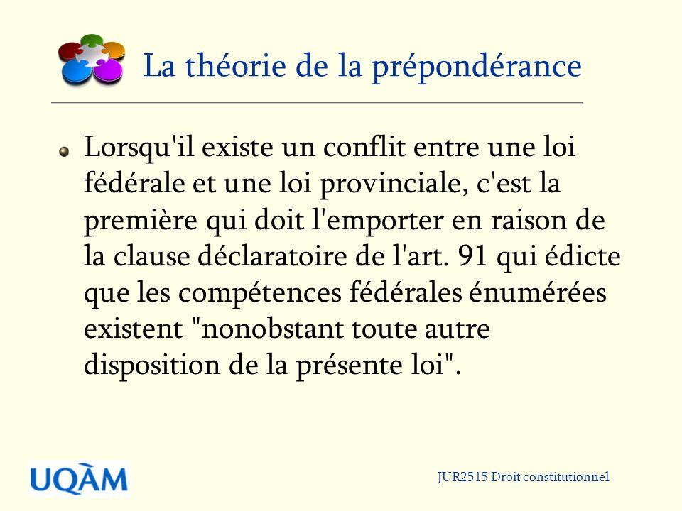 JUR2515 Droit constitutionnel La théorie de la prépondérance Lorsqu il existe un conflit entre une loi fédérale et une loi provinciale, c est la première qui doit l emporter en raison de la clause déclaratoire de l art.