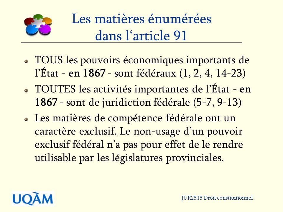 JUR2515 Droit constitutionnel Les matières énumérées dans larticle 91 TOUS les pouvoirs économiques importants de lÉtat - en 1867 - sont fédéraux (1, 2, 4, 14-23) TOUTES les activités importantes de lÉtat - en 1867 - sont de juridiction fédérale (5-7, 9-13) Les matières de compétence fédérale ont un caractère exclusif.