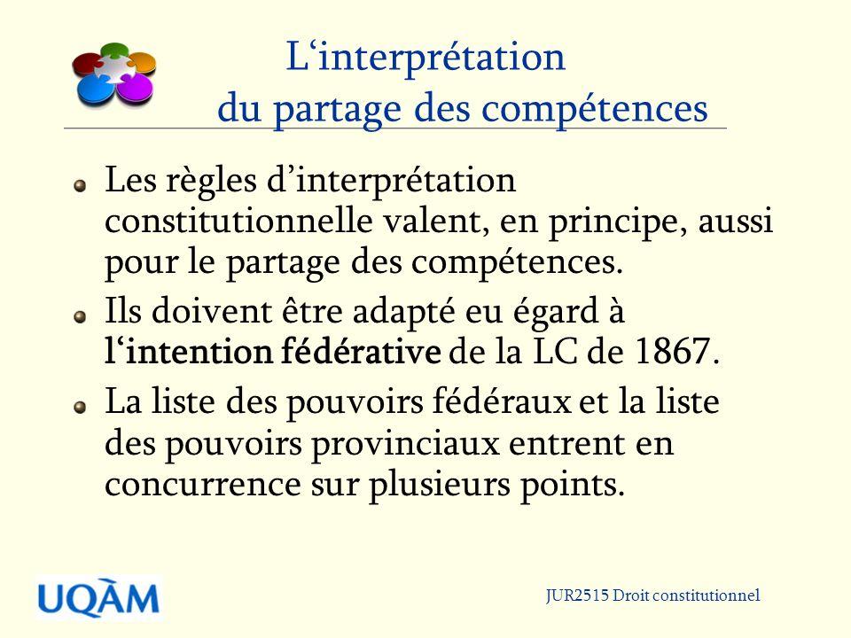 JUR2515 Droit constitutionnel Linterprétation du partage des compétences Les règles dinterprétation constitutionnelle valent, en principe, aussi pour le partage des compétences.