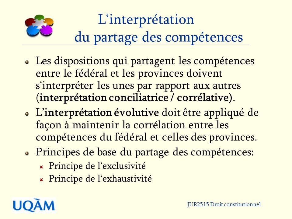 JUR2515 Droit constitutionnel Linterprétation du partage des compétences Les dispositions qui partagent les compétences entre le fédéral et les provinces doivent sinterpréter les unes par rapport aux autres (interprétation conciliatrice / corrélative).