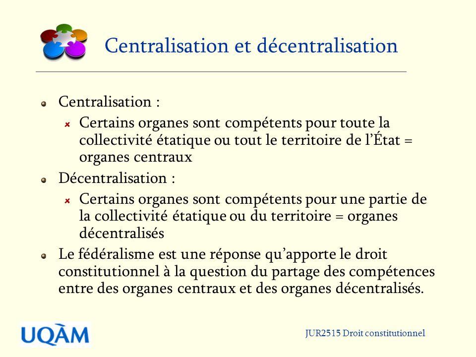 JUR2515 Droit constitutionnel Modèles dÉtat LÉtat unitaire : Les compétences sont concentrées dans un ou plusieurs organes qui sont compétents pour tout le territoire et toute la collectivité de lÉtat.