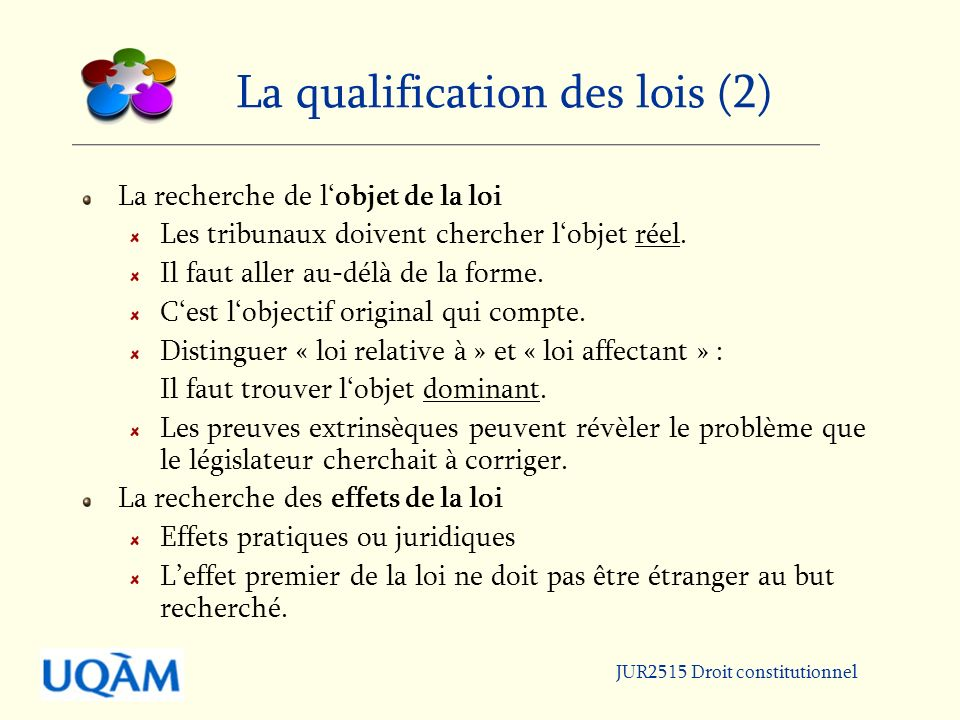 La qualification des lois (2) La recherche de lobjet de la loi Les tribunaux doivent chercher lobjet réel.