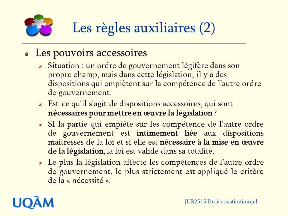 JUR2515 Droit constitutionnel Les règles auxiliaires (2) Les pouvoirs accessoires Situation : un ordre de gouvernement légifère dans son propre champ, mais dans cette législation, il y a des dispositions qui empiètent sur la compétence de lautre ordre de gouvernement.