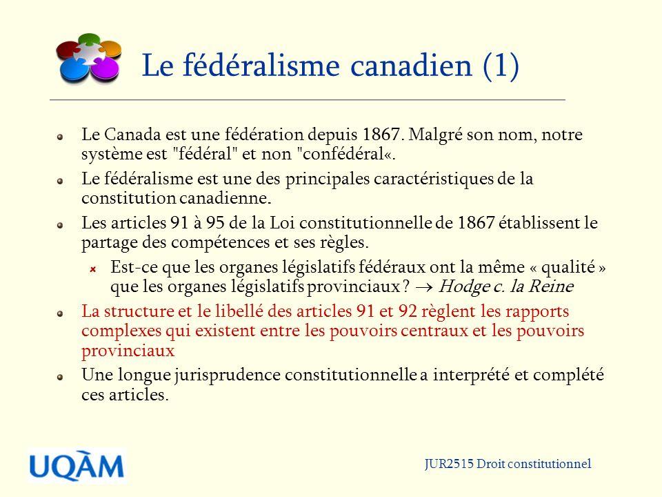 JUR2515 Droit constitutionnel Le fédéralisme canadien (2) La Constitution du Canada est suprême.