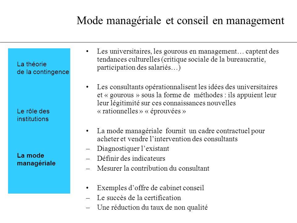 Mode managériale et conseil en management Les universitaires, les gourous en management… captent des tendances culturelles (critique sociale de la bur