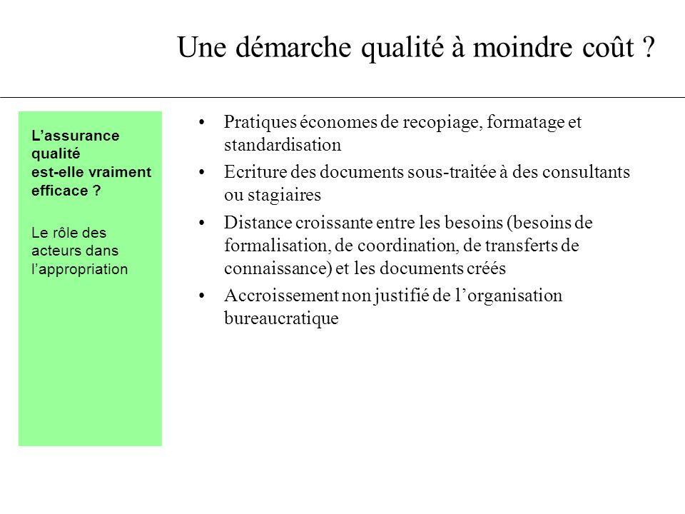 Une démarche qualité à moindre coût ? Pratiques économes de recopiage, formatage et standardisation Ecriture des documents sous-traitée à des consulta