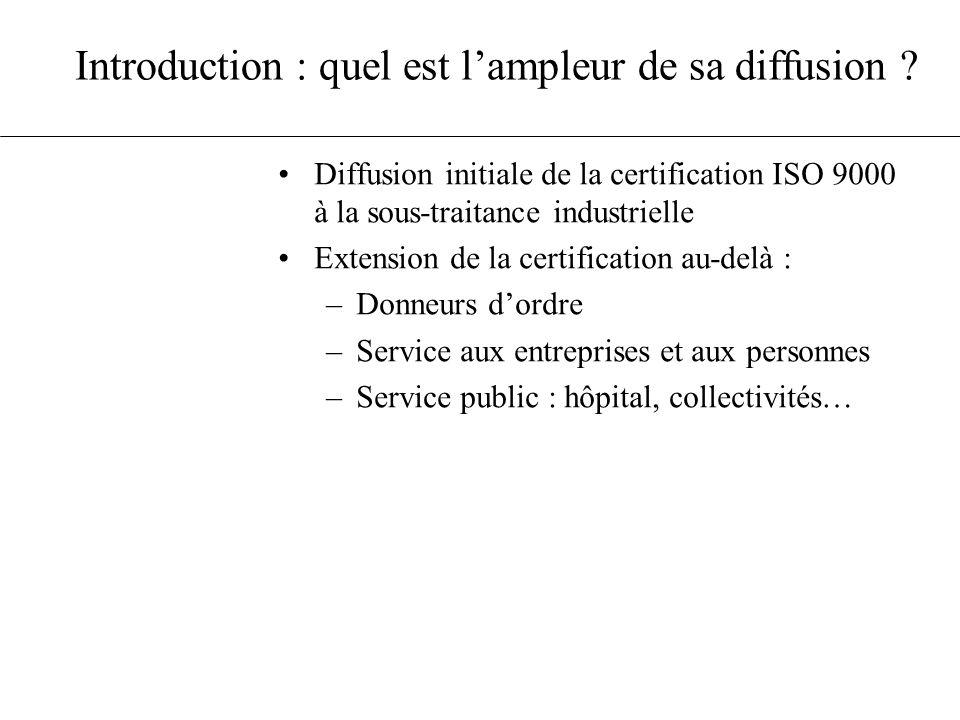 Introduction : quel est lampleur de sa diffusion ? Diffusion initiale de la certification ISO 9000 à la sous-traitance industrielle Extension de la ce
