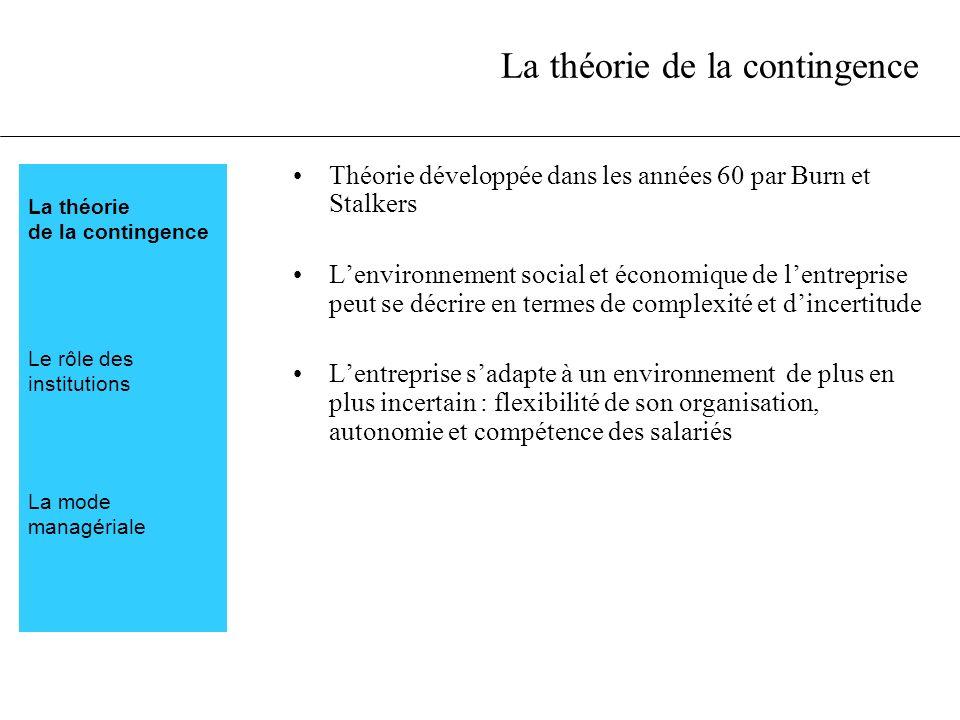 La théorie de la contingence Théorie développée dans les années 60 par Burn et Stalkers Lenvironnement social et économique de lentreprise peut se déc