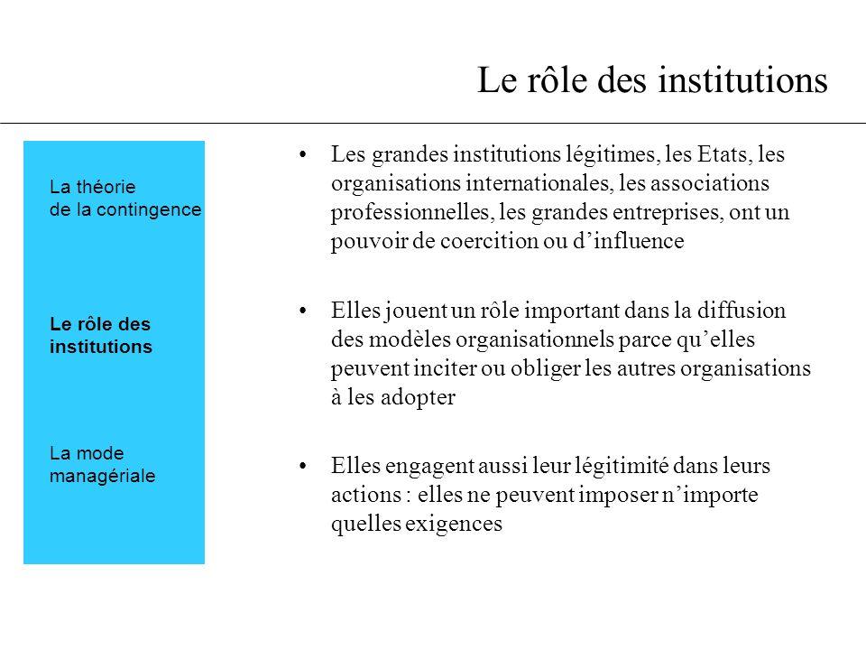Le rôle des institutions Les grandes institutions légitimes, les Etats, les organisations internationales, les associations professionnelles, les gran