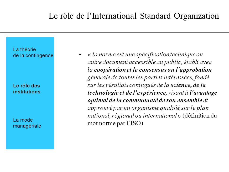 Le rôle de lInternational Standard Organization « la norme est une spécification technique ou autre document accessible au public, établi avec la coop