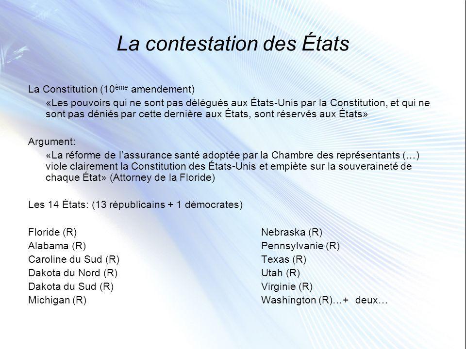 La contestation des États La Constitution (10 ème amendement) «Les pouvoirs qui ne sont pas délégués aux États-Unis par la Constitution, et qui ne son
