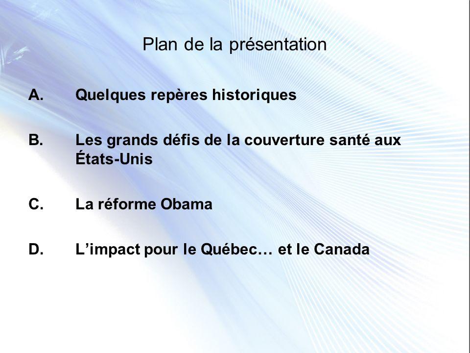 Plan de la présentation A. Quelques repères historiques B. Les grands défis de la couverture santé aux États-Unis C. La réforme Obama D. Limpact pour