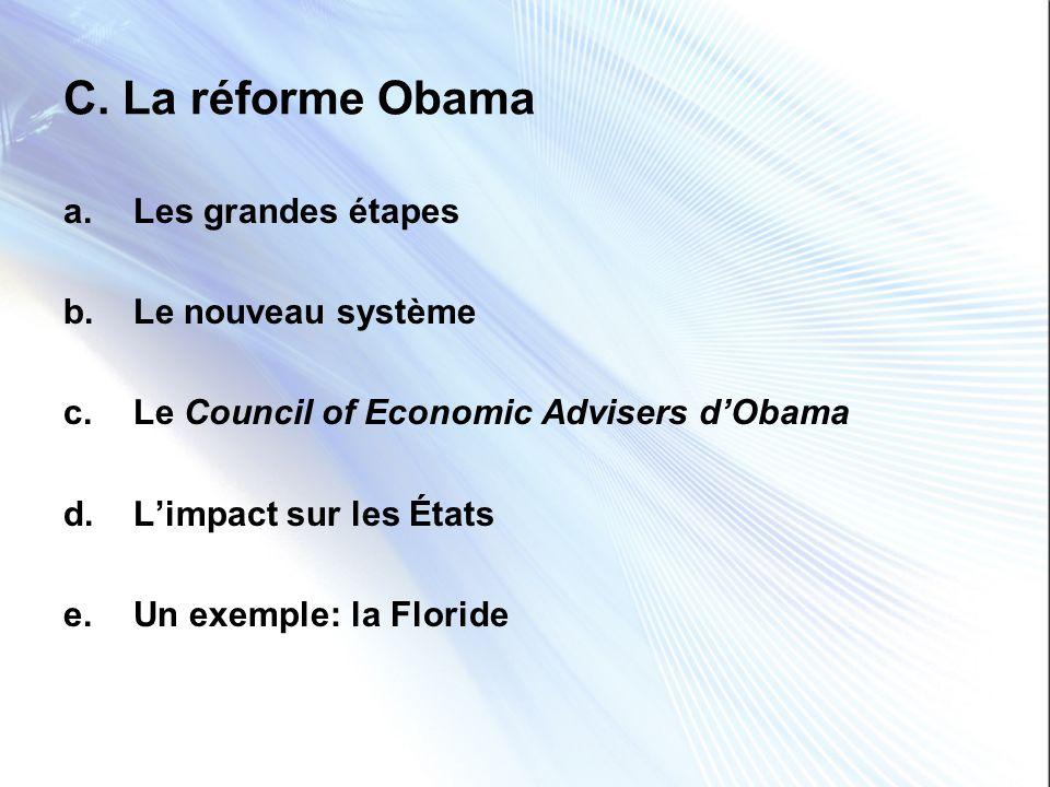 C. La réforme Obama a.Les grandes étapes b.Le nouveau système c.Le Council of Economic Advisers dObama d.Limpact sur les États e.Un exemple: la Florid