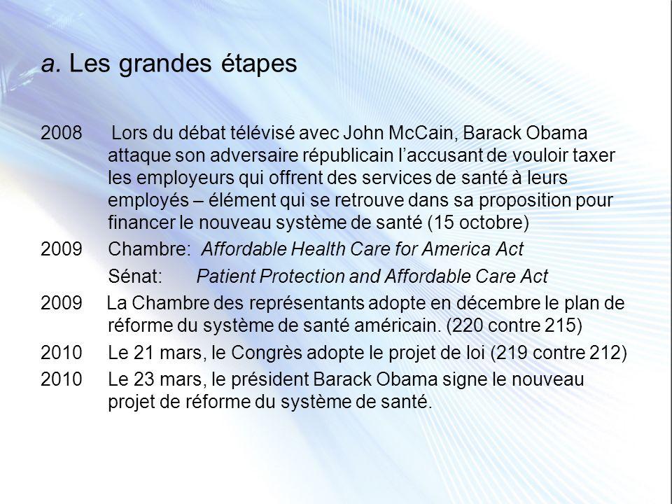 a. Les grandes étapes 2008 Lors du débat télévisé avec John McCain, Barack Obama attaque son adversaire républicain laccusant de vouloir taxer les emp