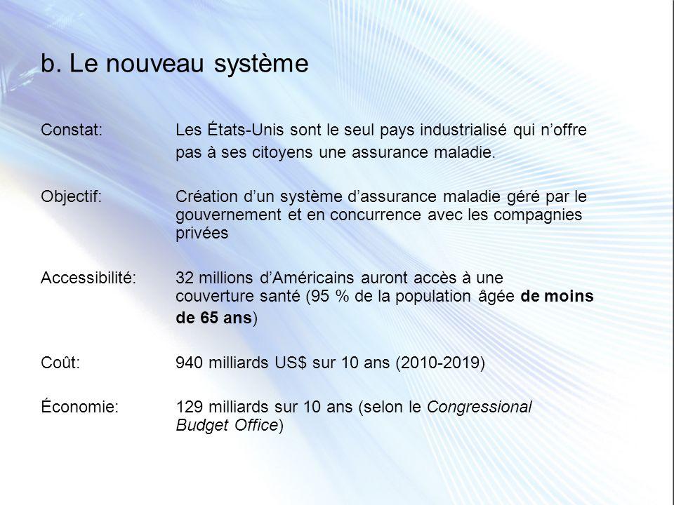 b. Le nouveau système Constat:Les États-Unis sont le seul pays industrialisé qui noffre pas à ses citoyens une assurance maladie. Objectif:Création du
