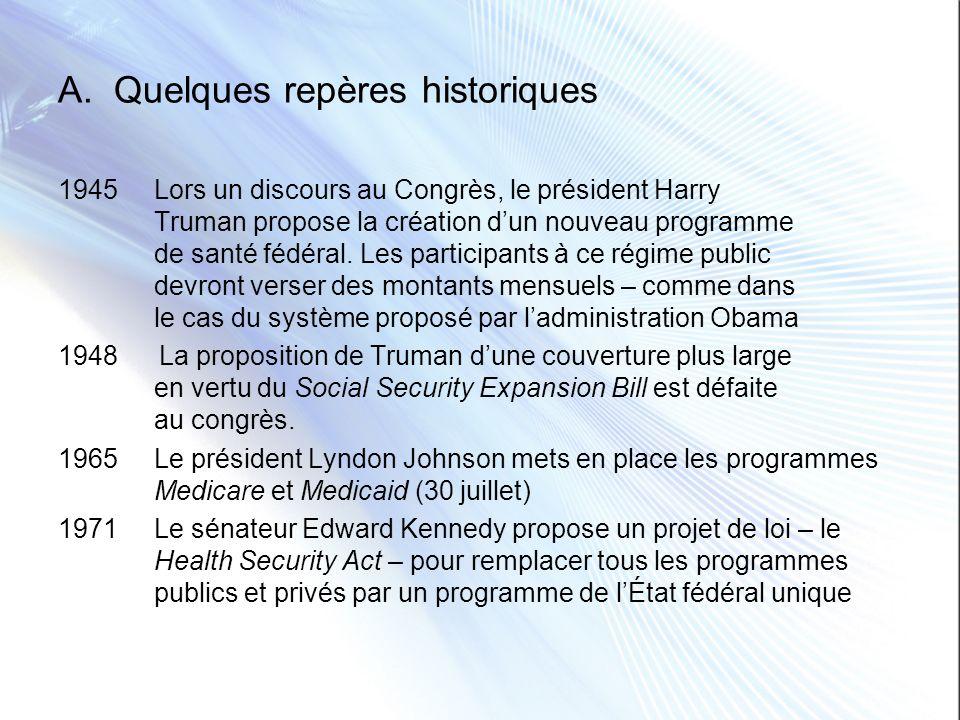 A. Quelques repères historiques 1945Lors un discours au Congrès, le président Harry Truman propose la création dun nouveau programme de santé fédéral.