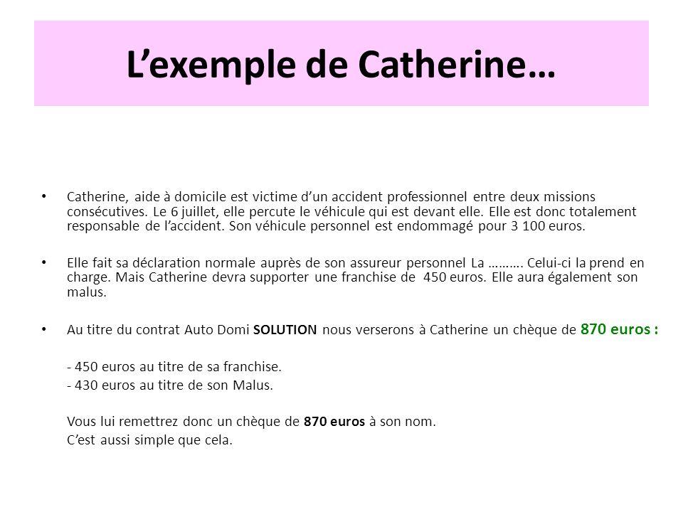 Lexemple de Catherine… Catherine, aide à domicile est victime dun accident professionnel entre deux missions consécutives. Le 6 juillet, elle percute