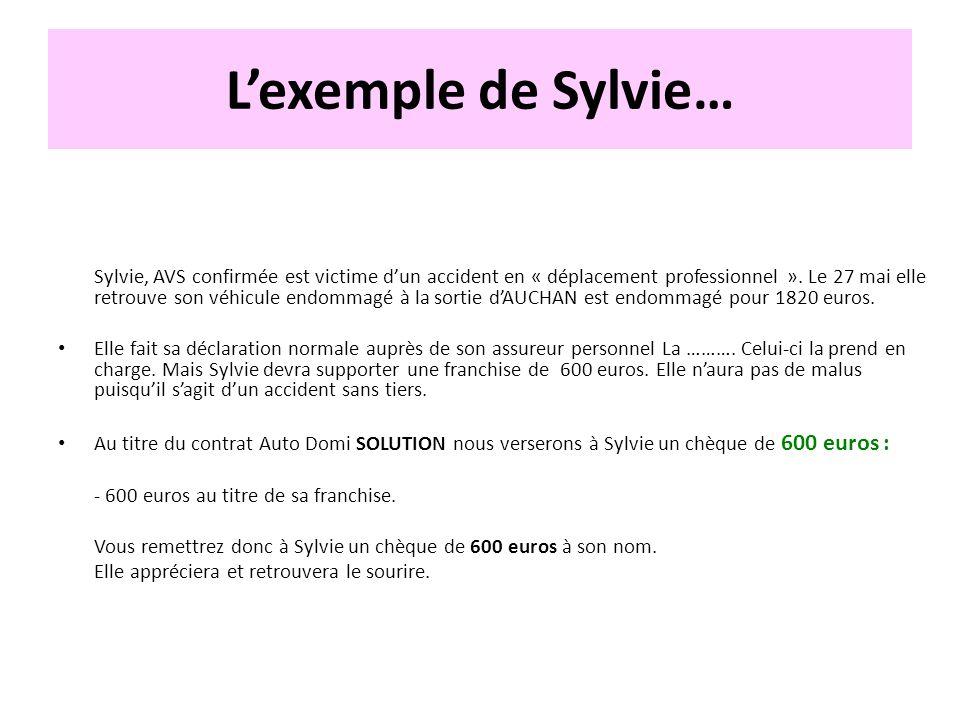 Lexemple de Sylvie… Sylvie, AVS confirmée est victime dun accident en « déplacement professionnel ». Le 27 mai elle retrouve son véhicule endommagé à