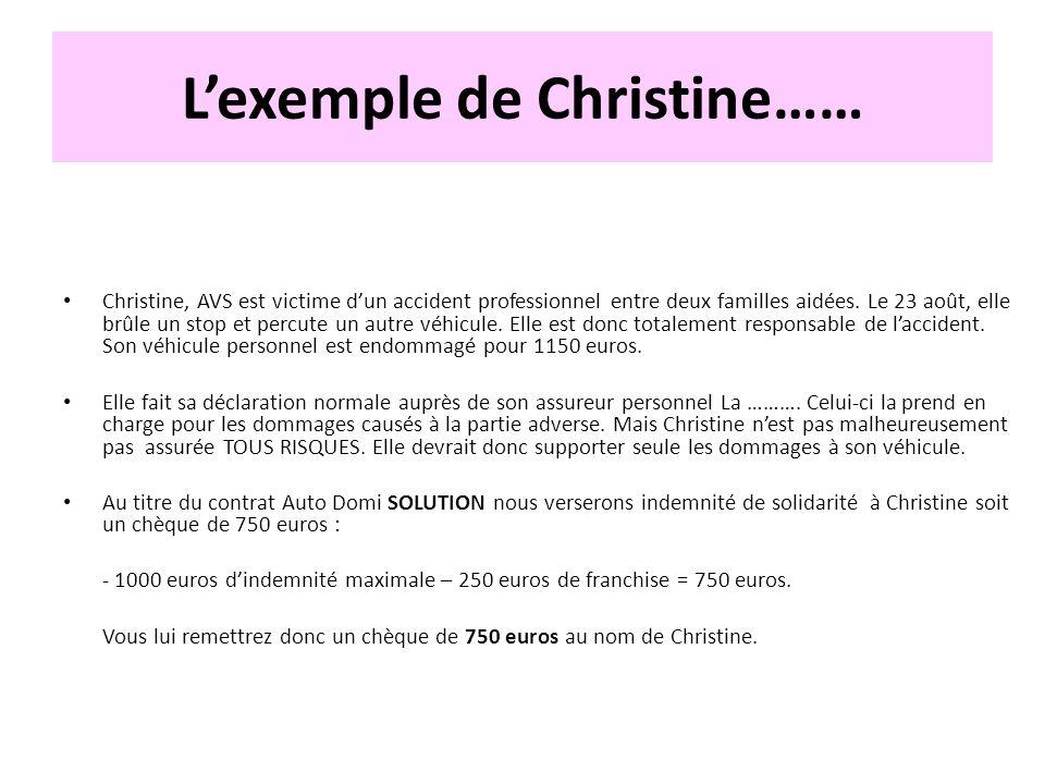 Lexemple de Christine…… Christine, AVS est victime dun accident professionnel entre deux familles aidées. Le 23 août, elle brûle un stop et percute un
