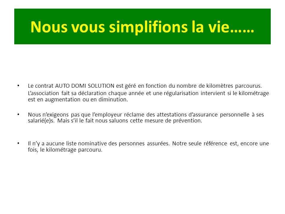 Nous vous simplifions la vie…… Le contrat AUTO DOMI SOLUTION est géré en fonction du nombre de kilomètres parcourus. Lassociation fait sa déclaration