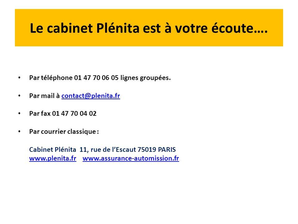 Le cabinet Plénita est à votre écoute…. Par téléphone 01 47 70 06 05 lignes groupées. Par mail à contact@plenita.frcontact@plenita.fr Par fax 01 47 70