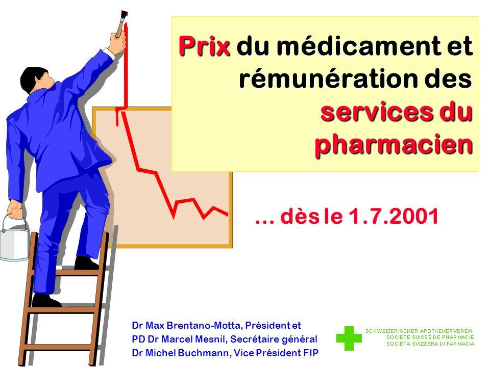 Dr Max Brentano-Motta, Président et PD Dr Marcel Mesnil, Secrétaire général Dr Michel Buchmann, Vice Président FIP Prix du médicament et rémunération des services du pharmacien...