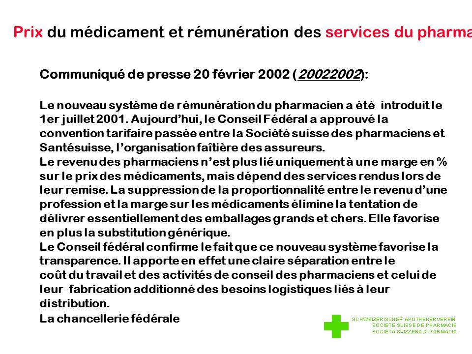 Prix du médicament et rémunération des services du pharmacien Communiqué de presse 20 février 2002 (20022002): Le nouveau système de rémunération du pharmacien a été introduit le 1er juillet 2001.