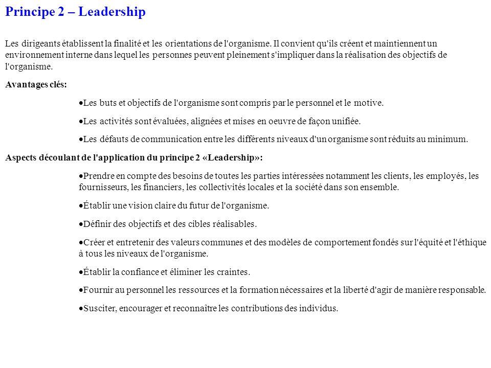 Principe 2 – Leadership Les dirigeants établissent la finalité et les orientations de l'organisme. Il convient qu'ils créent et maintiennent un enviro
