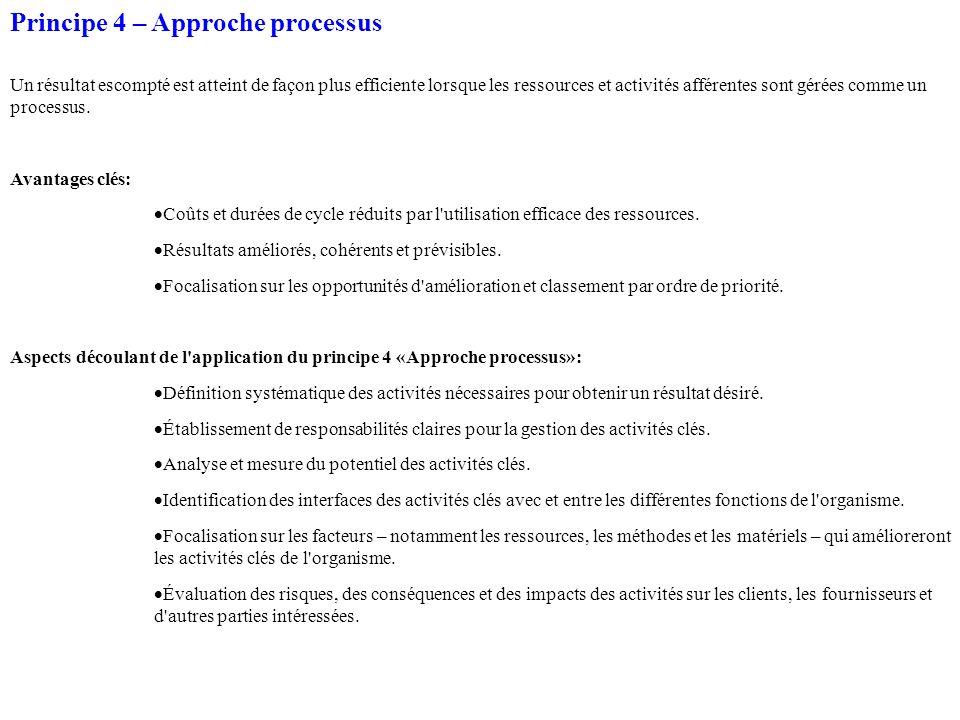 Principe 4 – Approche processus Un résultat escompté est atteint de façon plus efficiente lorsque les ressources et activités afférentes sont gérées comme un processus.