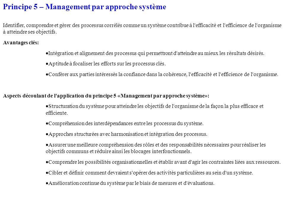 Principe 5 – Management par approche système Identifier, comprendre et gérer des processus corrélés comme un système contribue à l'efficacité et l'eff