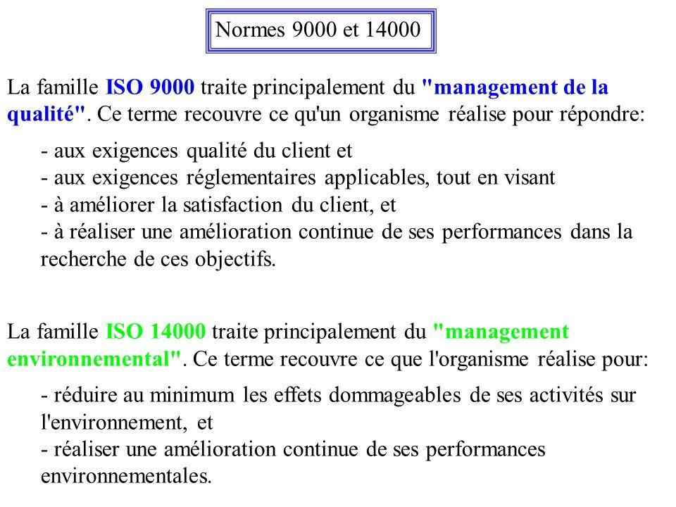 Les différentes normes qualité ISO ISO 9000: Décrit le système de normes et donne des lignes directrices pour leur sélection et leur utilisation ISO 9001: Porte sur la maîtrise de la préparation: conception du produit et organisation de la production (modèle pour l assurance de la qualité en conception, développement, production, installation et prestations associées) ISO 9002: Porte sur la maîtrise des processus principaux permettant de satisfaire les exigences décrites par la norme ISO 9003 (modèle pour l assurance de la qualité en production, installation et prestations associées) ISO 9003: Porte sur l identification des exigences de qualité des clients et une organisation des contrôles permettant de montrer de façon appropriée le respect de ces exigences (modèle pour l assurance de la qualité en contrôle et essais finaux)