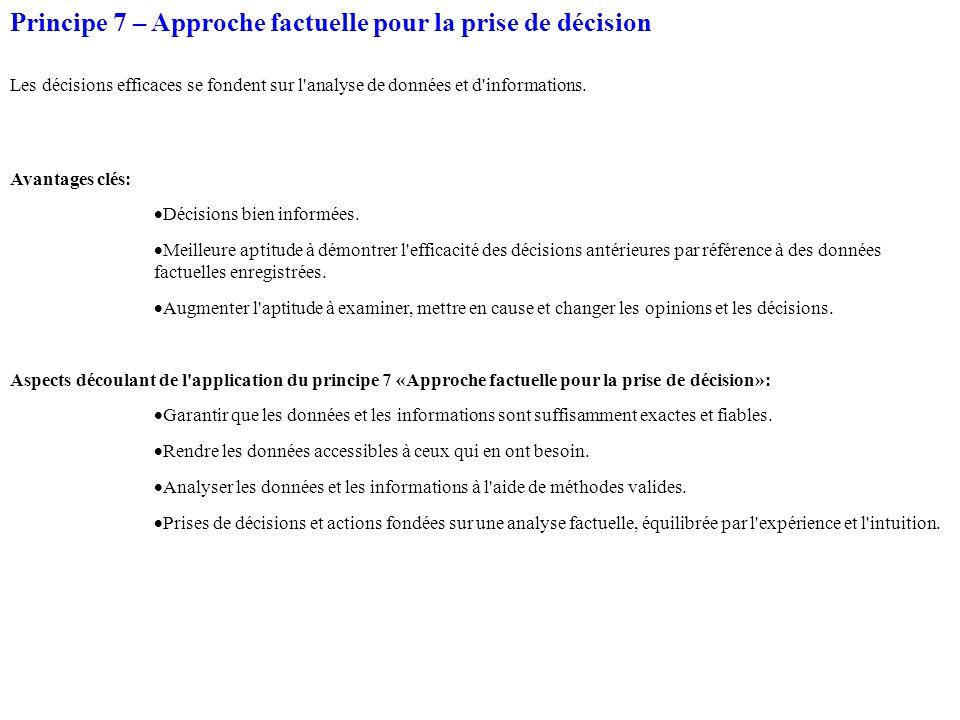 Principe 7 – Approche factuelle pour la prise de décision Les décisions efficaces se fondent sur l analyse de données et d informations.