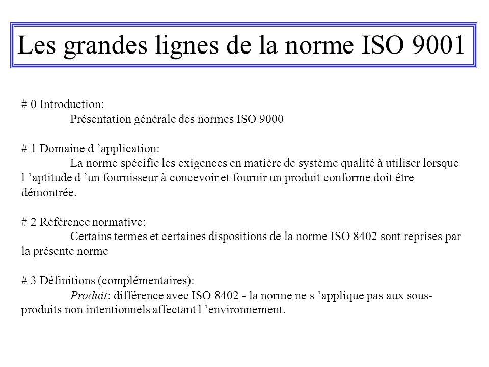 Les grandes lignes de la norme ISO 9001 # 0 Introduction: Présentation générale des normes ISO 9000 # 1 Domaine d application: La norme spécifie les e