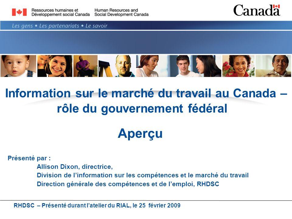 Information sur le marché du travail au Canada – rôle du gouvernement fédéral Présenté par : Allison Dixon, directrice, Division de linformation sur les compétences et le marché du travail Direction générale des compétences et de lemploi, RHDSC RHDSC – Présenté durant latelier du RIAL, le 25 février 2009 Aperçu