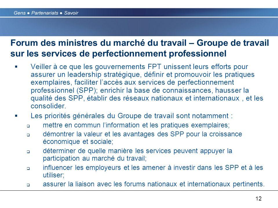 12 Forum des ministres du marché du travail – Groupe de travail sur les services de perfectionnement professionnel Veiller à ce que les gouvernements