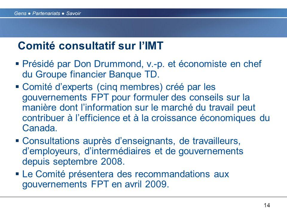 14 Comité consultatif sur lIMT Présidé par Don Drummond, v.-p. et économiste en chef du Groupe financier Banque TD. Comité dexperts (cinq membres) cré